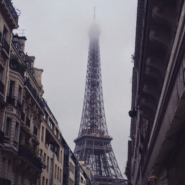 Eiffel Tower on a foggy evening