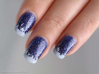 china glaze skyscraper blue glitter winter nails snow