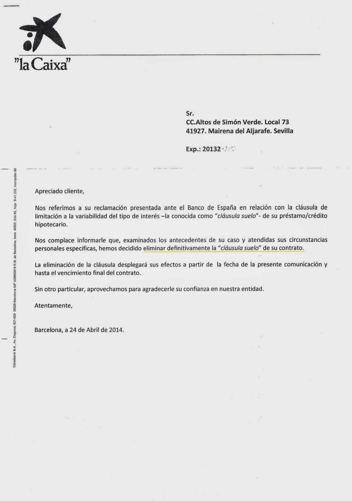 El blog de legalcores legalcores consigue que se anule for Clausula suelo la caixa