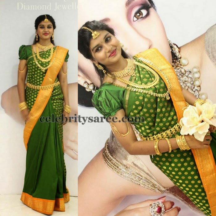Pretty Lady Traditional Green Saree