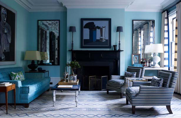 traditional teal living room design