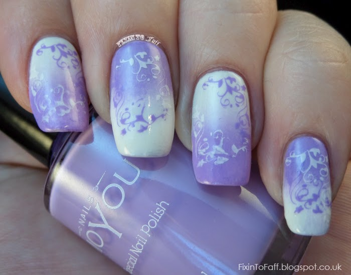 Reverse gradient stamping nail art MoYou Nails