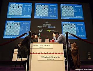 Echecs à Dortmund :Hikaru Nakamura (2774) 0-1 Vladimir Kramnik (2785) © Photo Georgios Souleidis