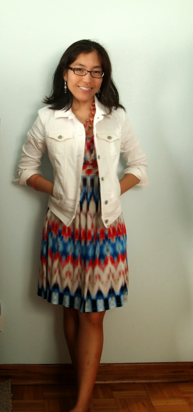 white denim jacket dress blue red white bead necklace teacher style