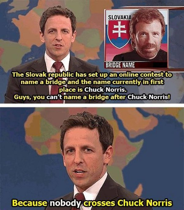 You can't name a bridge after Chuck Norris because nobody crosses Chuck Norris, Chuck Norris meme, funny, funny pictures
