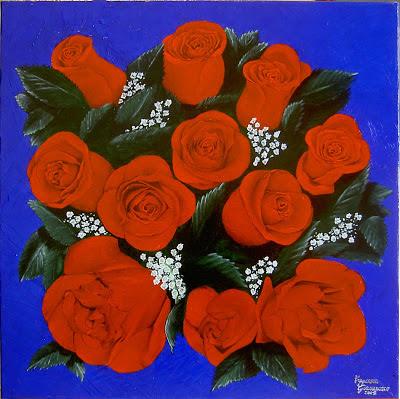 primo piano di rose rosse su sfondo blu
