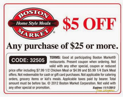 $10 off online order over $20 $3 off $10 25% off gift cards Boston Market LocationsFriendly Staff · Take Away · Redeem Online · Cash Back.