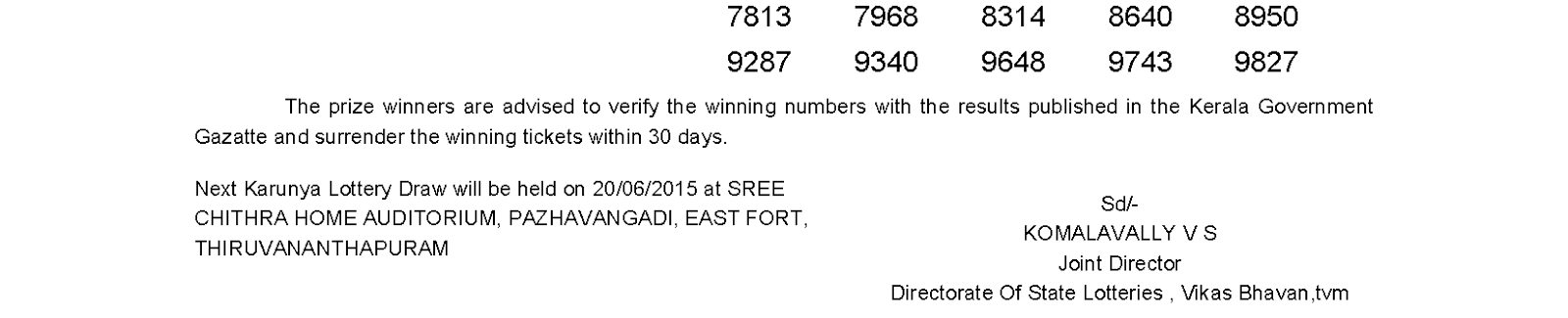 Karunya Lottery KR 194 Result 13-6-2015