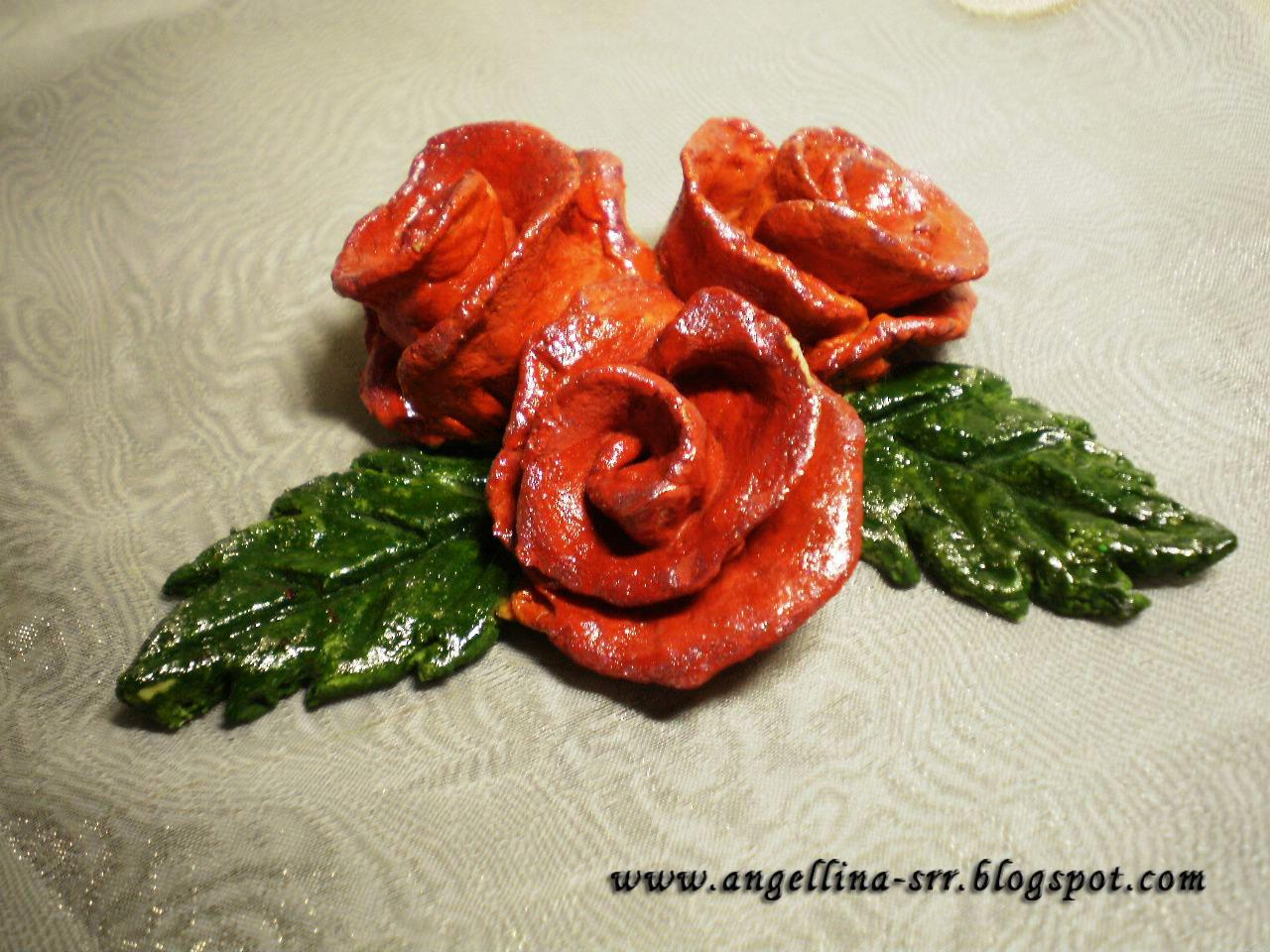 Цветы и листья из соленого теста мастер-класс - Колобок 45