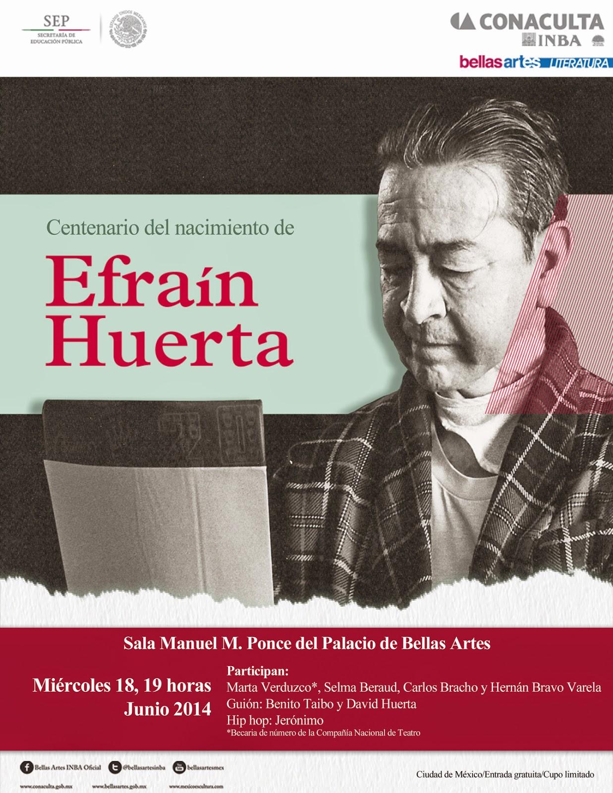 Entre música y lectura celebran a Efraín Huerta en Bellas Artes