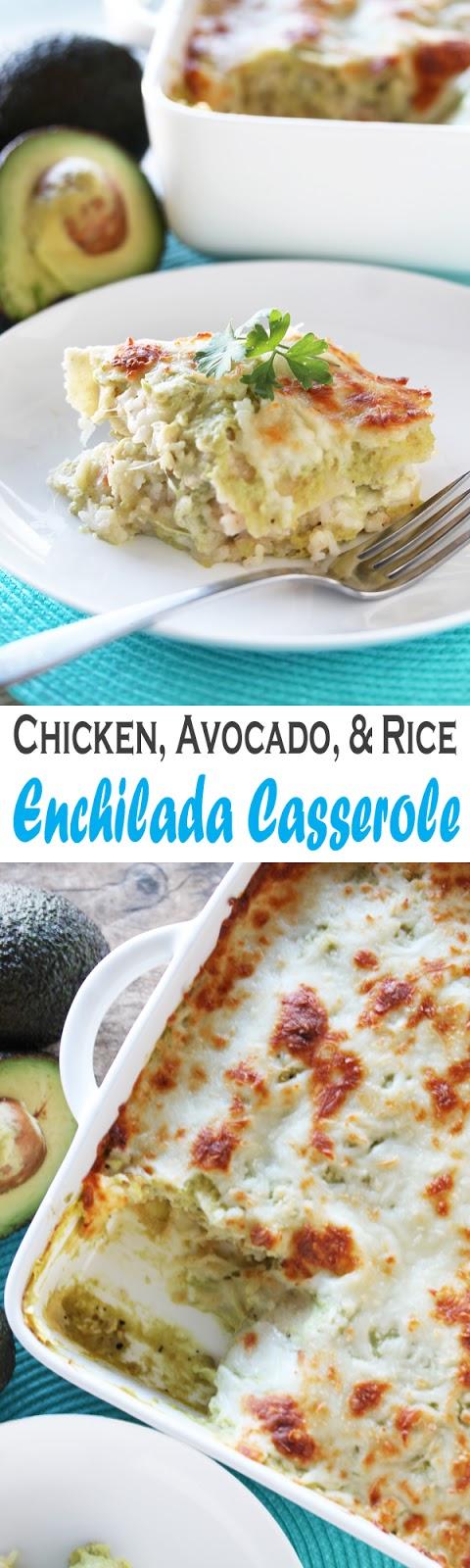 Chicken, Avocado, and Rice Enchilada Casserole