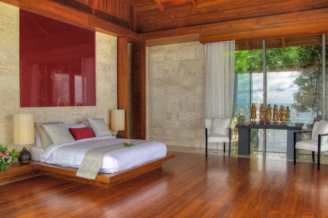 Modern wooden bed and floor in Villa Liberty, Phuket