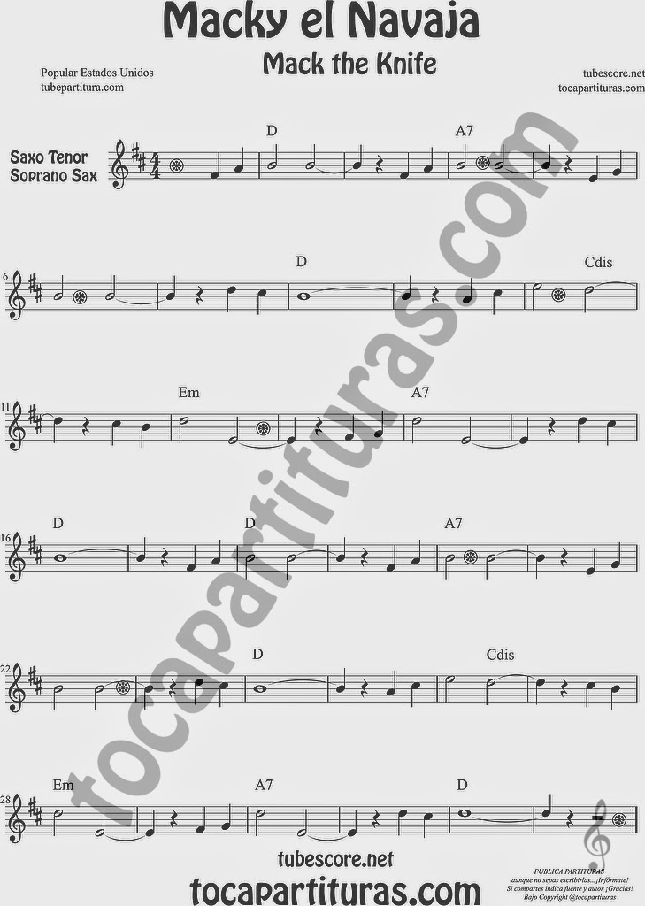 Macky el Navaja Partitura de Saxofón Soprano y Saxo Tenor Sheet Music for Soprano Sax and Tenor Saxophone Music Scores Mack the Knife de Kurt Weill