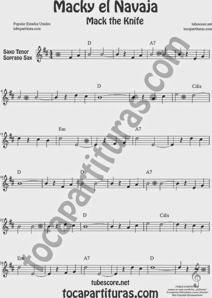 Macky el Navaja Partitura de Saxofón Soprano y Saxo Tenor Sheet Music for Soprano Sax and Tenor Saxophone Music Scores Mack the Knife de Kurt Weill