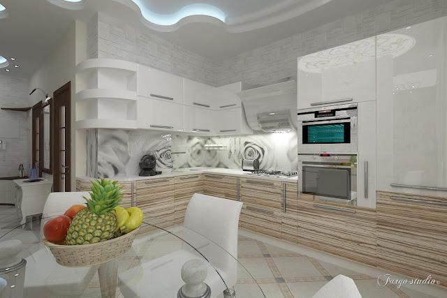 Светлая кухня дизайн 150