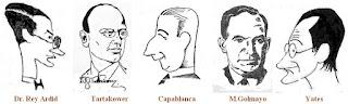 Caricaturas de los ajedrecistas Dr. Rey Ardid, Tartakower, Capablanca, M.Golmayo y Yates