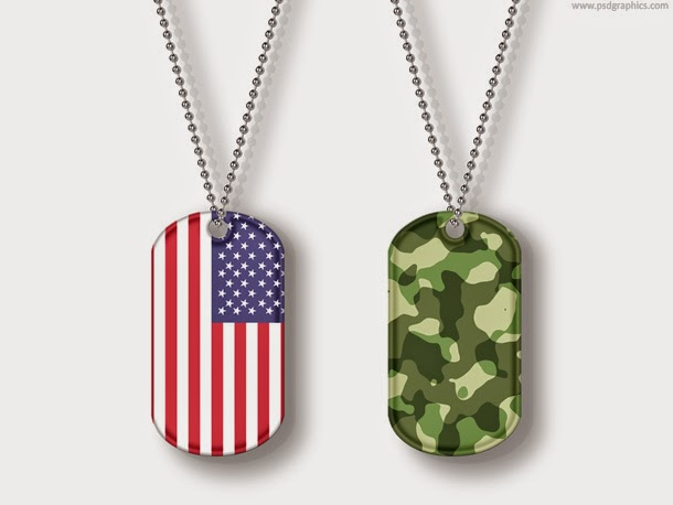 USA and Camouflage Dog Tags PSD