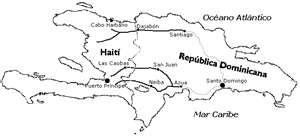 Mapa de República Dominicana y Haití para pintar
