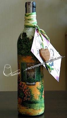 decoupage  na szkle butelka wina