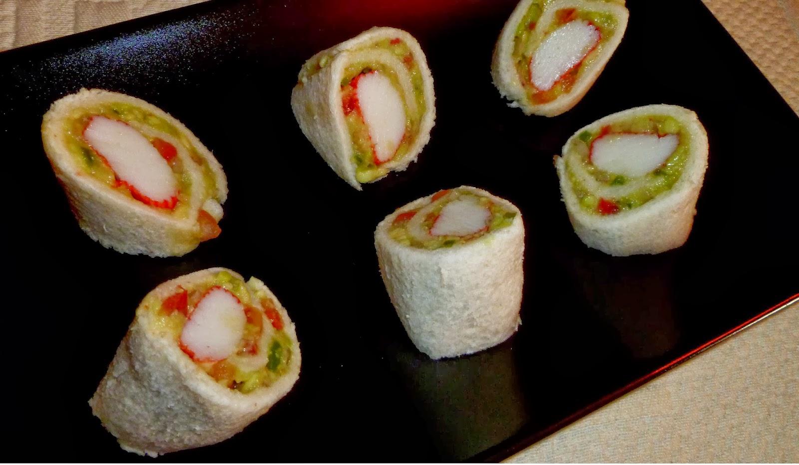 Rollitos de guacamole y surimi