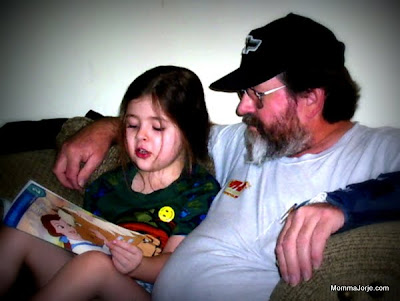 5yo Tyler reading to Grandpa