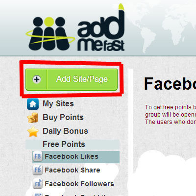 Adicionando site ou página