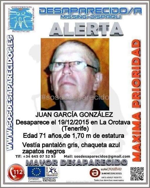 Juan García Gonzalez hombre desaparecido en La Orotava Tenerife