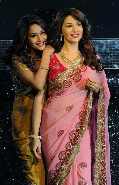 madhuri dixit wax statue at madame tussauds hot photoshoot