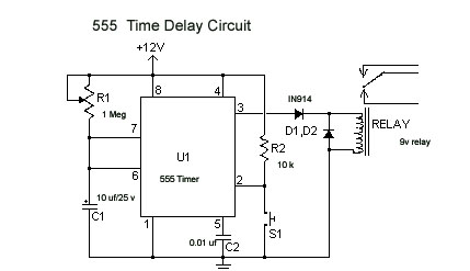 555 time delay circuit hobbytronics rh myhobbytronics blogspot com delay relay circuit diagram audio amplifier output relay delay circuit diagram