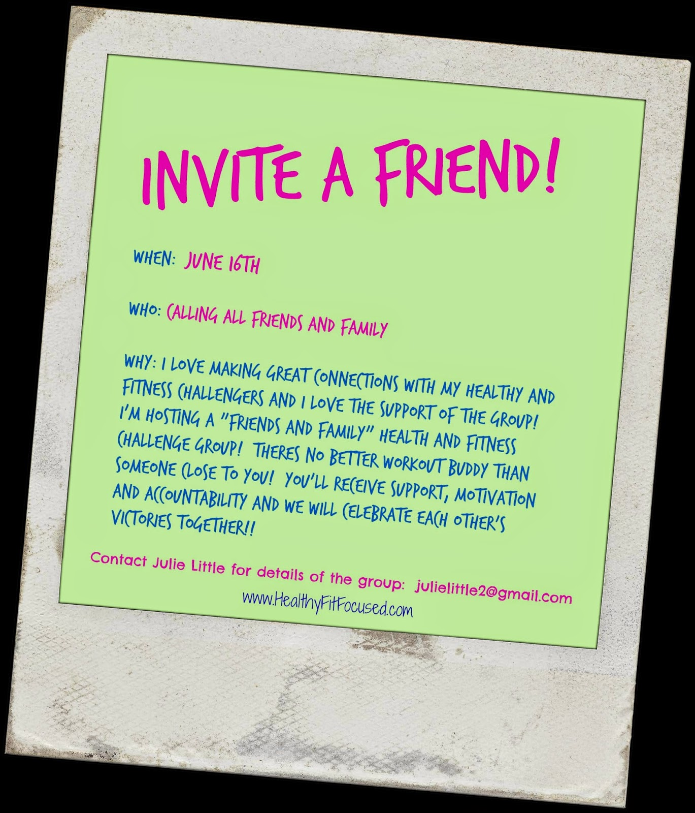 Healthy Fit and Focused Invite a Friend Challenge Group