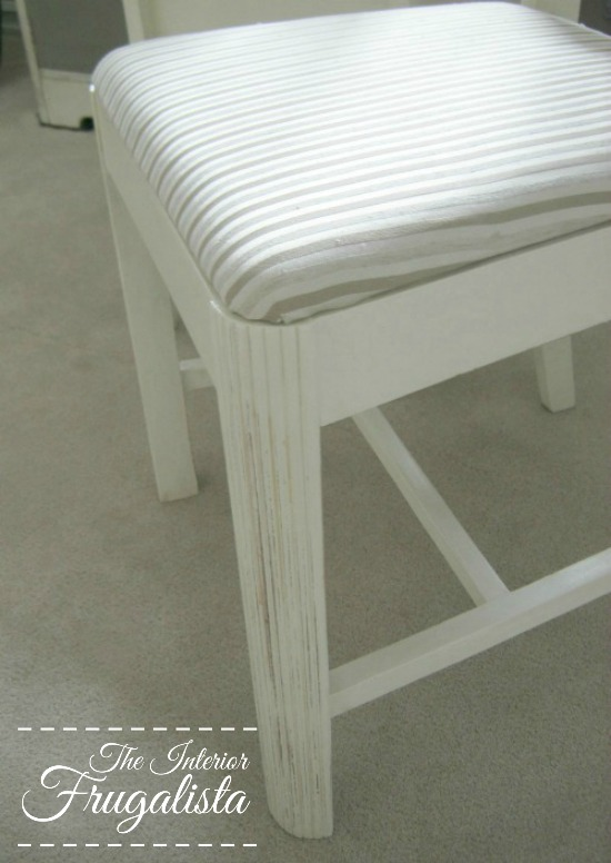 Vintage Dining Chairs reupholstered and painted with a distressed Shabby Chic finish