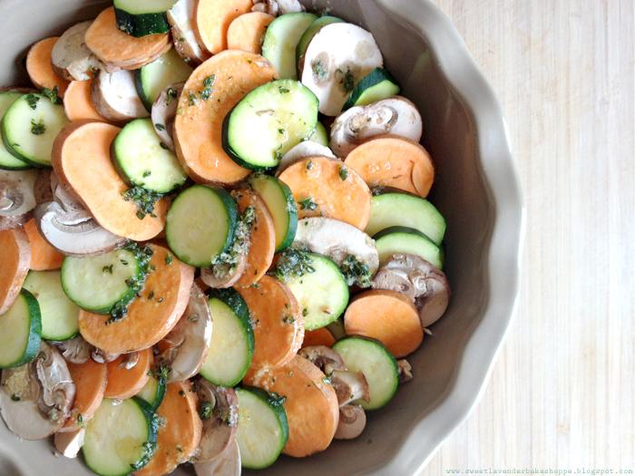 ... Bake Shoppe: sweet potato, zucchini + crimini mushroom gratin