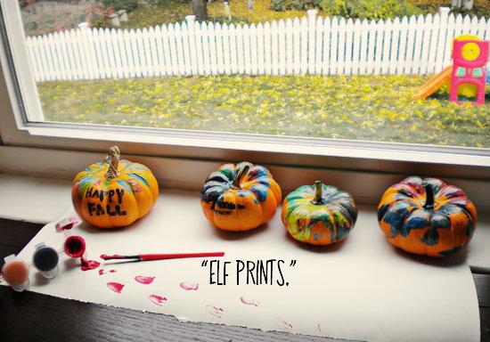 Mini painted pumpkins. | Elf footprints. | A Little Lair.