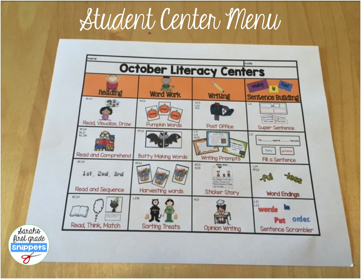 It is a graphic of Nerdy Printable Literacy Centers First Grade