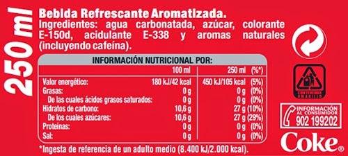 Ingredientes coca-cola bebida refrescante aromatizada