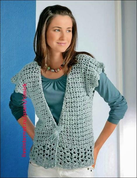 Caramelo de crochet chaleco celeste - Lana gruesa para tejer ...