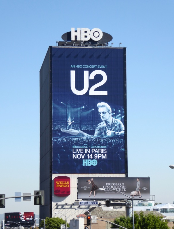 Giant U2 Live in Paris HBO billboard