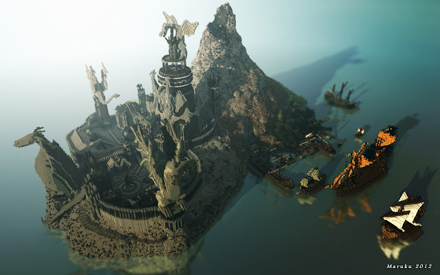 Dragon style castle with tall ships, image rendered