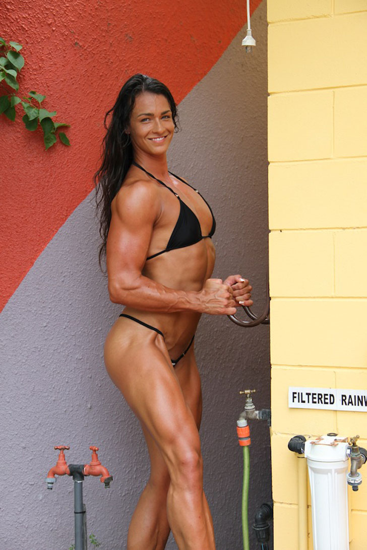 Cindy Landolt Models Her Fit Body In A Black Bikini