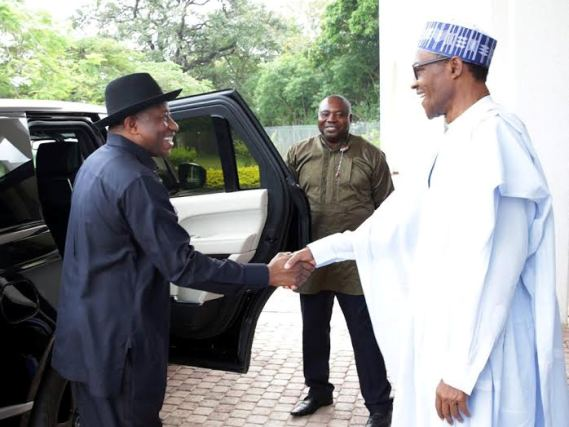See Photos Of GEJ In Aso Villa When He Visited President Buhari In Aso Rock This Afternoon