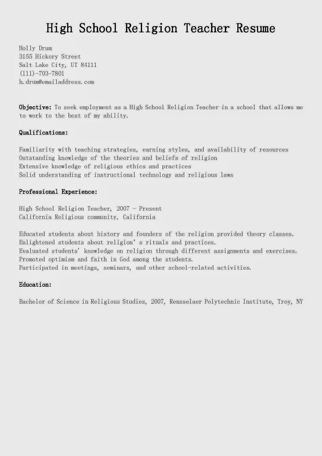 resume samples  high school religion teacher resume sample