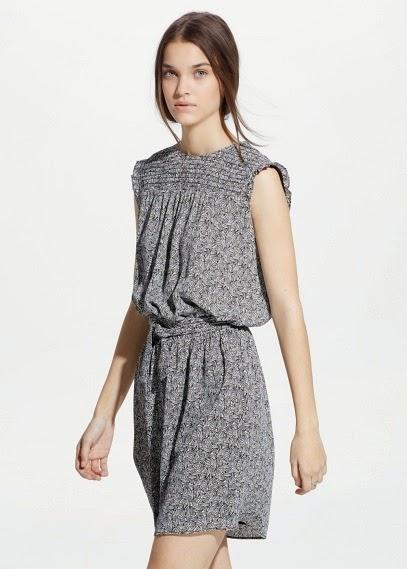 Mango 2015 Elbise Modelleri  desenli gri elbise kısa elbise kolsuz model