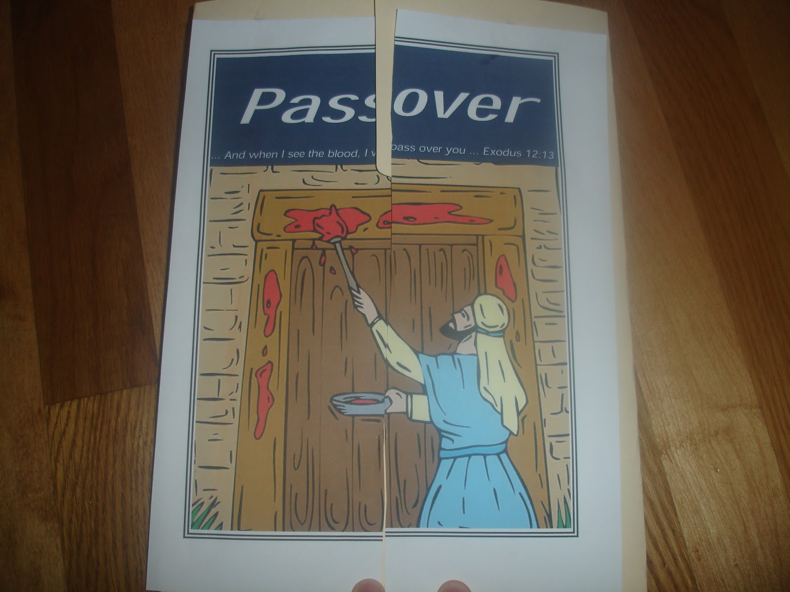 Passover door finished s le of ree craft for passover for Passover crafts for sunday school