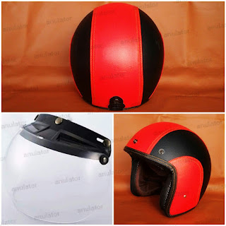 Helm Retro Classic Bogo Embos Sdoopy Red Black