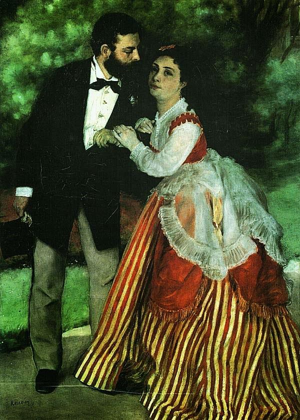 Огюст Ренуар. Портрет Сислея с женой. 1868.