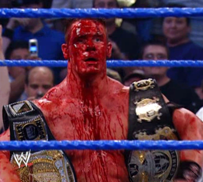 John Cena with blood coming from head