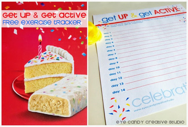 celebrate you, get up & get active, free exercise tracker, tracking sheet