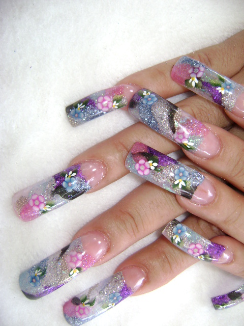 Nail Art Lotus And Cherry Korean Nail Designs