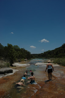 Guadalupe River with kids near Mo Ranch