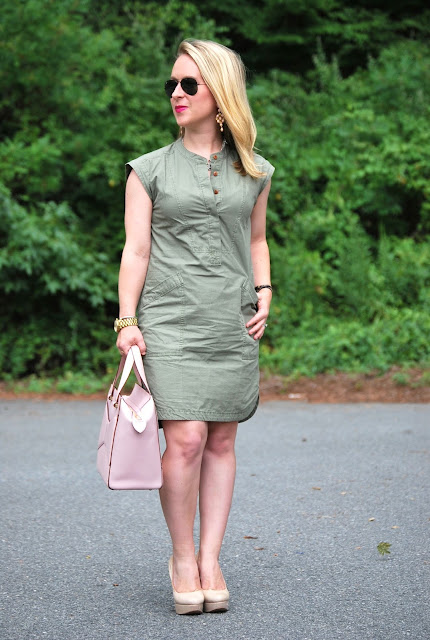 olive and pink, jcrew soft henley dress
